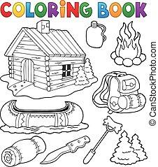 collezione, coloritura, esterno, libro, oggetti
