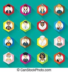 collezione, donna, icone, differente, set., illustrazione, occupazione, icona, uomo, design., professioni, appartamento, vettore