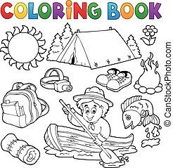 collezione, estate, esterno, libro colorante