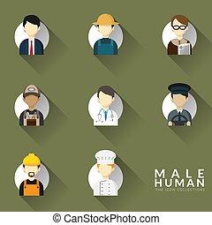 collezione, icone, differente, set., illustrazione, occupazione, icona, uomo, design., professioni, appartamento, vettore