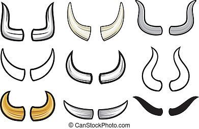 collezione, set), (horn, corna