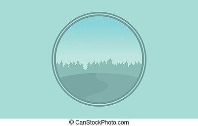 collezione, silhouette, collina, paesaggio