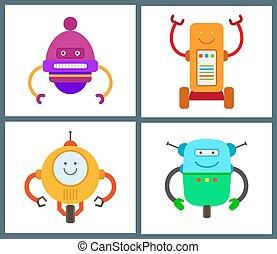 collezione, tipi, vettore, robot, illustrazione
