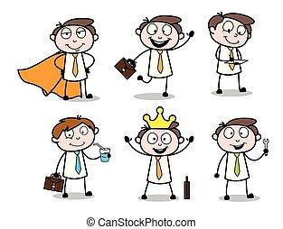 collezione, vettore, vario, uomo affari, professionale, cartone animato