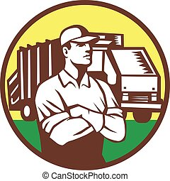 collezionista, immondizia, cerchio, camion, retro, rifiuti