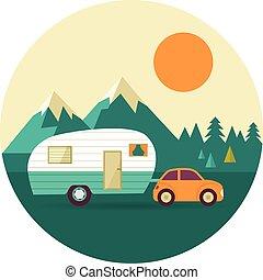 colline, natura, vendemmia, campeggiatore, foresta, vettore, fondo, automobile