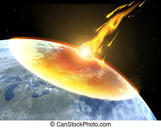 collisione, asteroide, terra