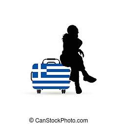 collocazione, viaggiare, illustrazione, borsa, bandiera, grecia, ragazza