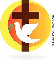 colomba, spirito, santo, croce