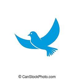 colomba, vector., blu, isolato, icona