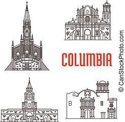 colombiano, famoso, costruzioni, icone