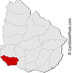 colonia, mappa, evidenziato, uruguay