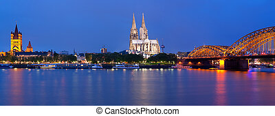colonia, panorama, notte