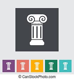 colonna, appartamento, singolo, icon.