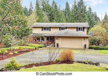 colonna, casa, veranda, aperto, attaccato, storia, garage, due