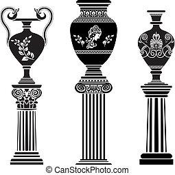 colonna, greco, antico, vaso
