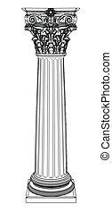 colonna, greco, singolo, bianco, isolato
