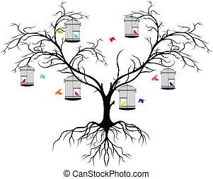 colorare, albero, silhouette, uccelli