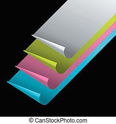 colorare, angoli, carta, fogli, arricciato