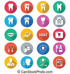 colorare, appartamento, dentale, icone