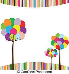 colorare, arcobaleno, astratto, albero, primavera
