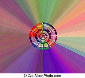 colorare, arcobaleno, ruota