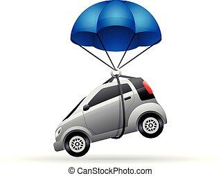 colorare, automobile, paracadute, -, icona