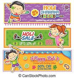 colorare, bambini, gioco, holi, pichkari