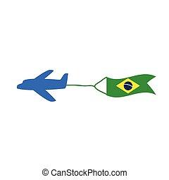 colorare, bandiera, vettore, brasil, aeroplano