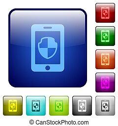 colorare, bottoni, smartphone, quadrato, protezione