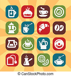 colorare, caffè, tee, icone