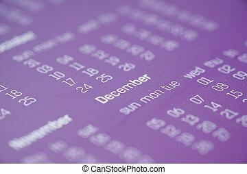 colorare, calendario, viola, tavola, fine