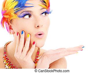 colorare, capelli, faccia donna