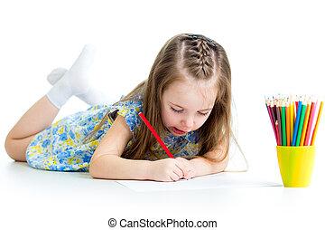 colorare, carino, capretto, disegno, matite
