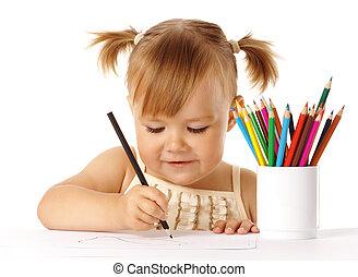 colorare, carino, disegnare, bambino, matite