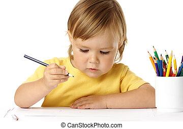 colorare, carino, disegnare, pastelli, bambino