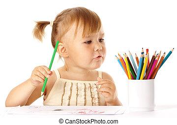 colorare, carino, gioco, bambino, matite