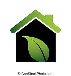 colorare, casa, ecologico, silhouette