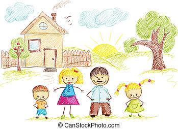 colorare, casa, schizzo, famiglia
