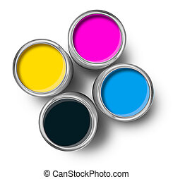 colorare, cima, cmyk, dipingere stagno, lattine