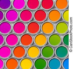 colorare, cima, dipingere stagno, lattine, vista