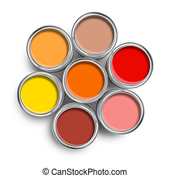 colorare, cima, dipingere stagno, riscaldare, lattine