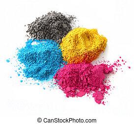 colorare, cmyk, polvere