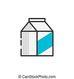 colorare, contorno, latte, pacchetto, icona
