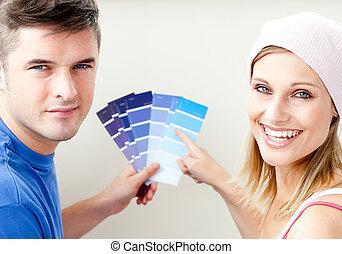 colorare, coppia, pittura, allegro, campioni, stanza