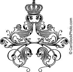 colorare, corona reale, curve, uno, elegante, retro