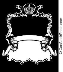 colorare, corona reale, curve, uno, vendemmia, bandiera