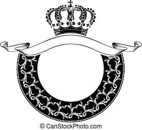 colorare, corona reale, uno, cerchio, composizione