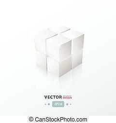 colorare, cubo bianco, 3d