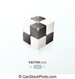 colorare, cubo bianco, nero, 3d